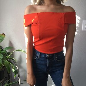 Anthropologie orange off the shoulder top